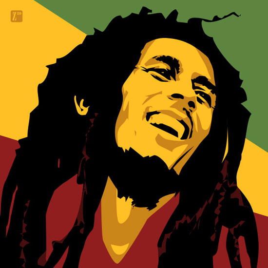 reggae and famous person Bob marley (1945-1981) was a famous reggae artist famous instruments in reggae music are drums, guitar, saxophone, trumpet and trombone.